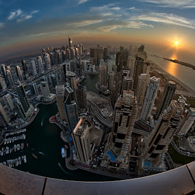 Dubai Marina Fisheye View by Andrew Madali - City,  Street & Park  Street Scenes ( fisheye, dubai, sunset, d800, uae )
