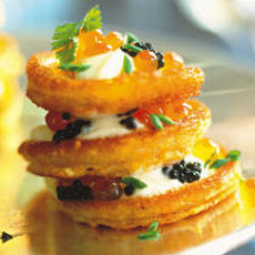 Cornmeal Blini with Caviar Recipe