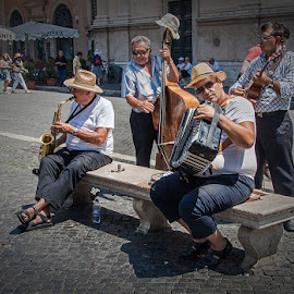 Old musicians in Rome by József Király - People Musicians & Entertainers ( music street italy roma old )