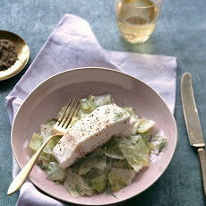 Steamed Green Cabbage with Halibut Fillet
