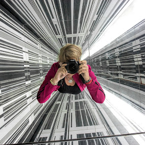 self portrait by Vibeke Friis - Artistic Objects Technology Objects ( selfie, angles, mirrors, self shot, camera, photographer, self portrait, lines, portrait,  )