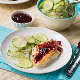 Raspberry-Chipotle Chicken Breasts with Cucumber Salad