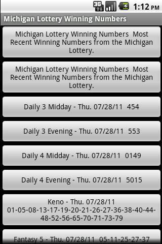 Michigan Lottery Winning Numbe