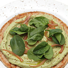 Open-face Avocado Hummus Sandwich with Pickled Shallots and Baby Spinach