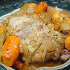 Crock Pot Garlic Pork With Sweet Potatoes