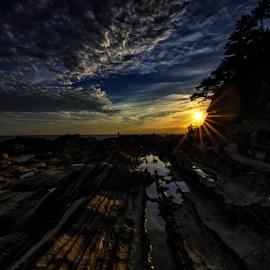 The Flare by Nyoman Sundra - Landscapes Sunsets & Sunrises ( arasaki, sunset, beach, landscape, flare )