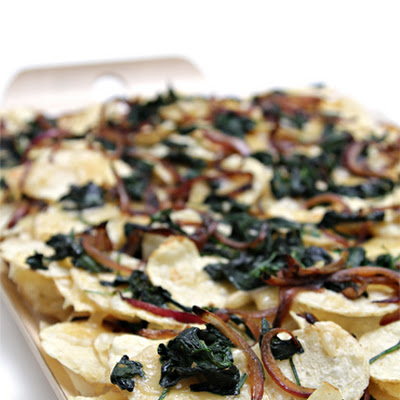 "Potato ""Nachos"" with Smoked Raclette, Wilted Spinach and Caramelized Red Onion"