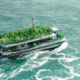 Hornblower in Niagara Falls by Robert Machado - Transportation Boats ( water, awe, constant, waterfalls, flowing, tourism, flow, attraction, destination, tourist, nature, niagara falls, awesome, cascade, falls, fall, impressive, niagara, natural )