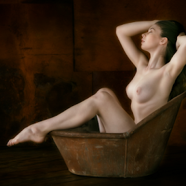 Vintage Bather by Marie Otero - Nudes & Boudoir Artistic Nude ( model, nude, vintage, female, bath, fine art )
