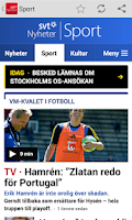 Screenshot of SVT Nyheter
