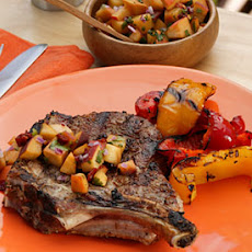 Cumin-Crusted Monster Pork Chop with Peach Chipotle Salsa