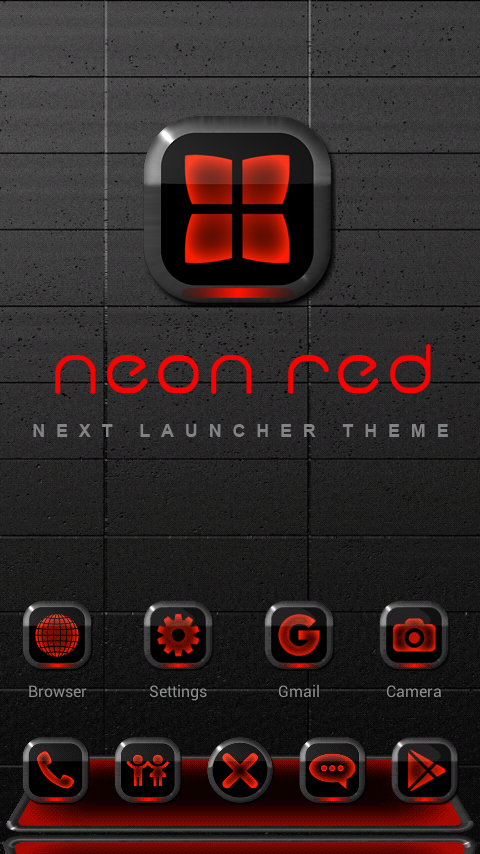 Next Launcher Theme Neon Red Screenshot 0