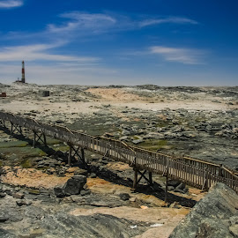 Beach by   BG - Landscapes Travel ( water, lighthouse, beach, bridge, rocks )