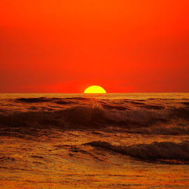 Red Sun Set by Lori Fix - Landscapes Sunsets & Sunrises