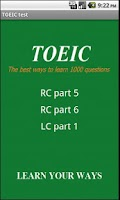Screenshot of 1000 TOEIC test; LC and RC