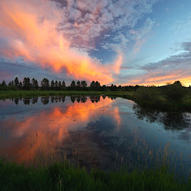 Sunriver  Sunset - Sunriver, Oregon by Barb Gates - Landscapes Sunsets & Sunrises ( stormy, clouds, oregon, sunset, reflections )