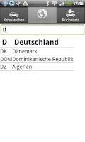 Screenshot of KFZ Kennzeichen D/A/CH/I/PL/F