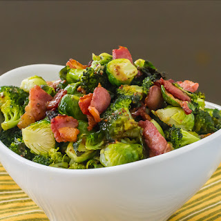 Brussels Sprouts & Broccoli with Maple Dijon Vinaigrette and Bacon