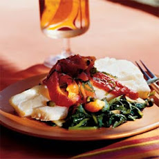 Poached Cod with Roasted Peppers, Capers, and Spinach