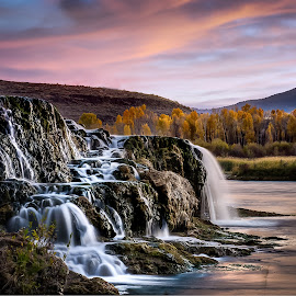 Fall creek - into the Snake River by Brent Lindsay - Landscapes Waterscapes ( waterfalls, fall colors, river )