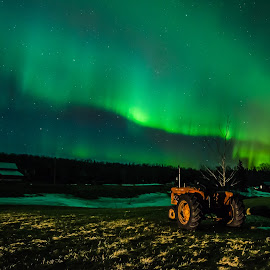 Farm Field Aurora by David Johnson - Landscapes Starscapes ( home, barn, colorful, aurora borealis, northern lights, tractor )