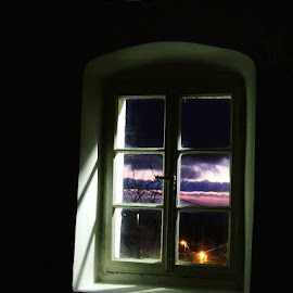 Old Window by Djurdjica Milosavljevic - Buildings & Architecture Other Interior ( old, window, purple, white, night, black,  )