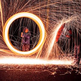 Umbrella by Mark Dillon - Abstract Light Painting ( light painting, wire wool, umbrella, fireworks, sparks )