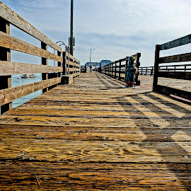 The Long Pier by Barbara Brock - Buildings & Architecture Bridges & Suspended Structures ( wood pier, pier on the pacific, dock )