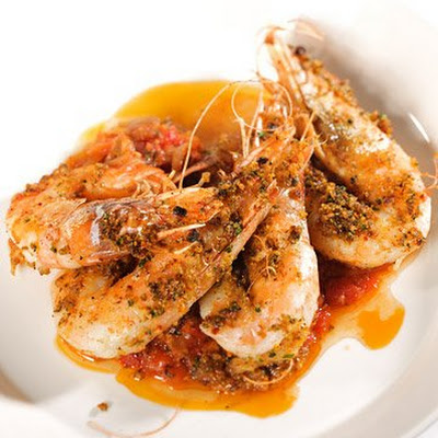 Roasted Jumbo Prawns with Hot Pepper and Spiced Tomato Saltsa