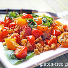 Baked Grape Tomatoes Recipe with Basil and Cornbread Crumbs
