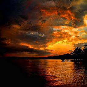 Angry Sunset by Michael Buffington - Landscapes Sunsets & Sunrises ( clouds, hills, waterscape, sunset, lake, landscape, , golden hour, sunrise, Earth, Light, Landscapes, Views )