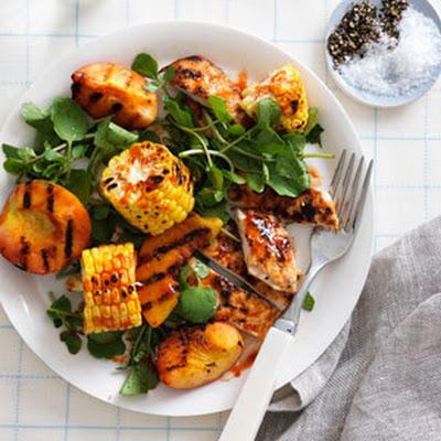 Honey-Chile-Ginger Grilled Chicken and Peach Salad