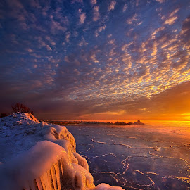 Fifty Shades of Sunrise by Phil Koch - Landscapes Waterscapes ( shore, vertical, wisconsin, ray, phil koch, landscape, photography, sun, sky, nature, tree, ice, snow, perspective, horizons, light, clouds, park, green, art, twilight, horizon, lake, scenic, shadows, field, red, winter, lake michigan, blue, sunset, meadow, trees, lines, beam, sunrise )