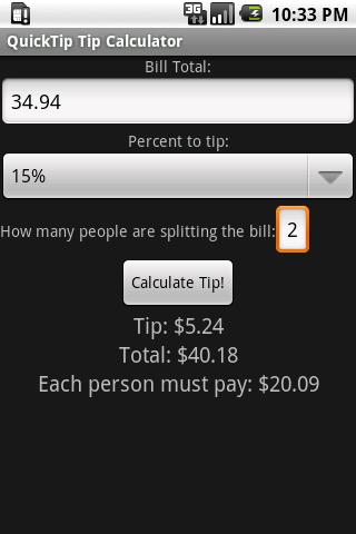QuickTip Tip Calculator