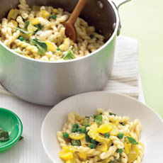 Gemelli with Yellow Squash, Peas, and Basil