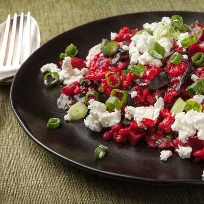 Beet & Barley Risotto with Goat Cheese