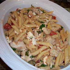 Penne with Chicken, Artichokes and Feta