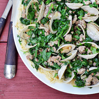 Ragout of Clams with Spinach, Sausage and Orzo