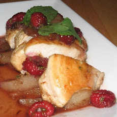 Low Fat Chicken Medallions With Cinnamon Raspberry Pear Sauce