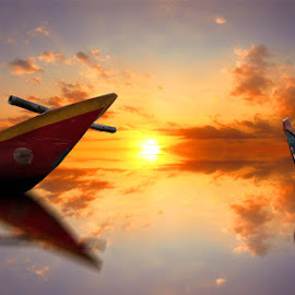 2 perahu by Indra Prihantoro - Digital Art Places ( boats, boat )