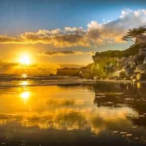 Santa Cruz Lighthouse beach sunset by Kathy Dee - Landscapes Sunsets & Sunrises ( water, clouds, reflection, california, lighthouse, sea, tourism, ocean, travel, beach, coastal, coast, sun, amazing, vacation, santa, cruz, sunset, twighlight, rocks, evening, sophisticated,  )
