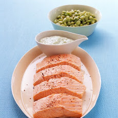 Poached Salmon with Green Goddess Dressing