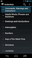 Screenshot of Yoruba Basic Phrases