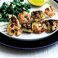 Chicken And Prawn Skewers On Greek Salad