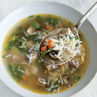 Chicken-and-Orzo Soup with Arugula and Basil