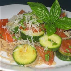 Caprese Spaghetti with Courgettes