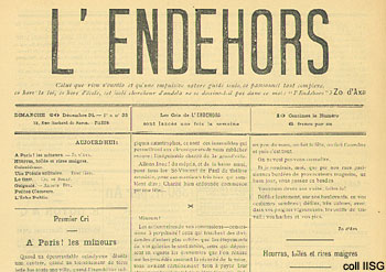 l'Endehors masthead; source International Institute of Social History