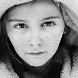 Headstrong by Sydney Dowd - Novices Only Portraits & People ( winter, girl, black and white, snow, pretty, young )