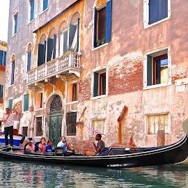 Venice Gondola in the neighborhood by Steven Aicinena - City,  Street & Park  Street Scenes ( water, gondola, venice, boat, people )