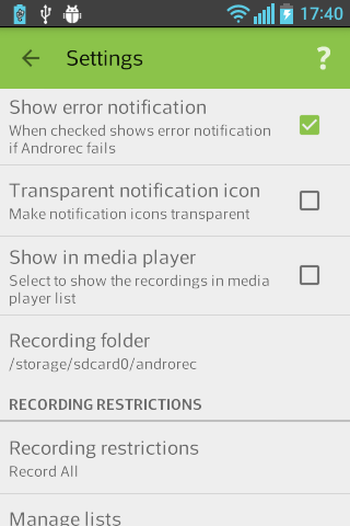 Androrec+ Screenshot 2